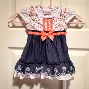 Little Lass 3T Flower Print and mock Denim Dress